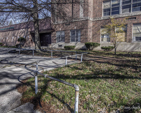 School Building Poster featuring the photograph Lew Wallace High School April 2015 016 by Chuck Walla