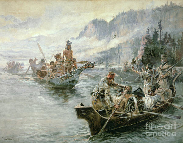 Rivers Poster featuring the painting Lewis And Clark On The Lower Columbia River by Charles Marion Russell