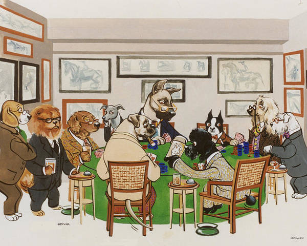 Poker Poster featuring the painting Lexington Club by Constance Depler Coleman