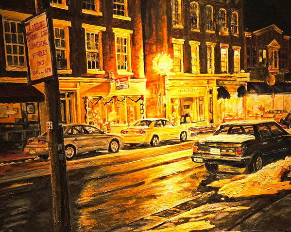 Street Scene Poster featuring the painting Lexington Street Light by Thomas Akers