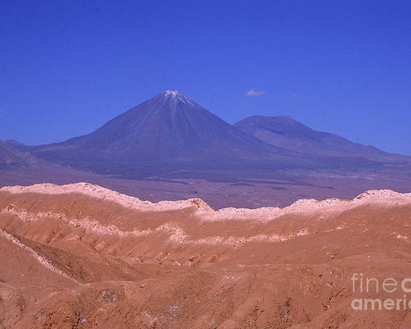 Chile Poster featuring the photograph Licancabur Volcano Seen From The Atacama Desert Chile by James Brunker