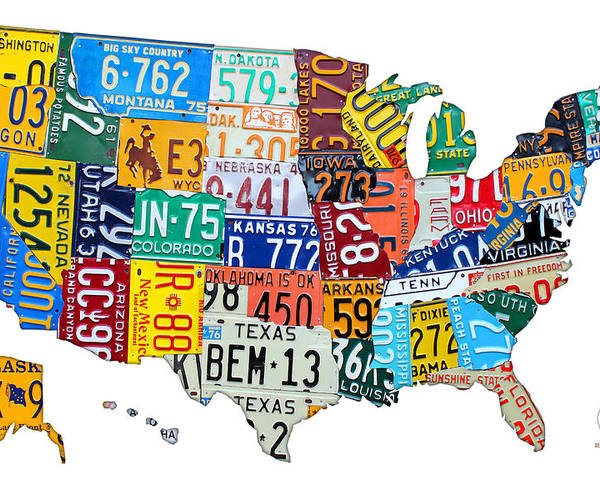 License Plate Map Of The United States Outlined Poster By Design - Us-map-license-plates
