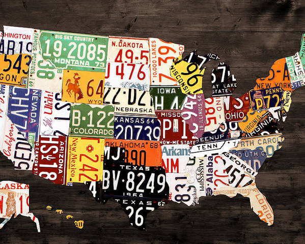 License Plate Map Poster featuring the mixed media License Plate Map Of The United States - Warm Colors / Black Edition by Design Turnpike