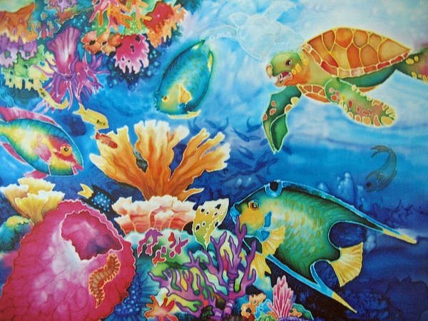 Fish Poster featuring the painting Life On The Ledge by Deborah Younglao