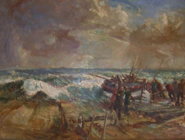 Seascape Of The Disaster That Overtook The Caister Lifeboat Launch In 1901 Poster featuring the painting Lifeboat Launch by G Chalker   C1960