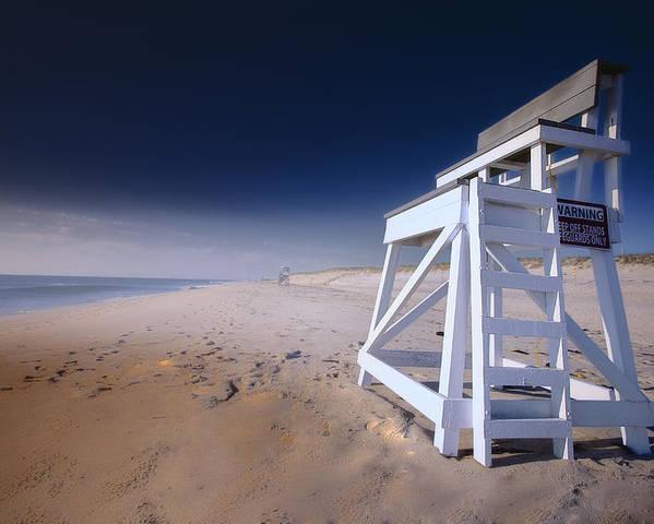 Lifeguard Chair Poster featuring the photograph Lifeguard Chair - Nauset Beach by Dapixara Art