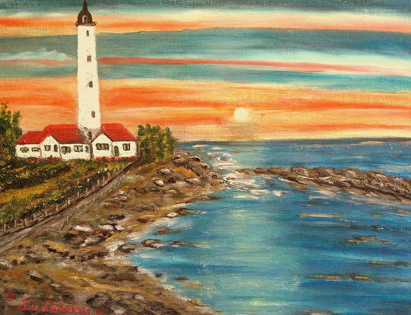 Lighthouse Poster featuring the painting Light house 1 by Kenneth LePoidevin