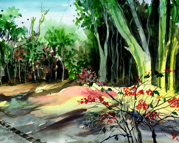 Watercolor Poster featuring the painting Light In The Woods by Anil Nene