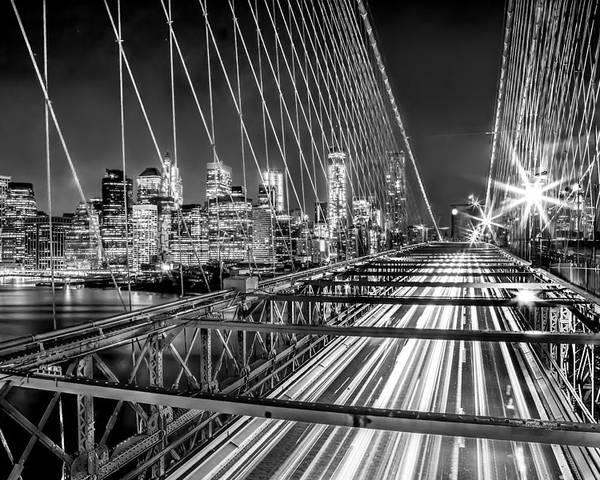 Brooklyn Bridge Poster featuring the photograph Light Trails Of Manhattan by Az Jackson