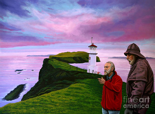 Denmark Poster featuring the painting Lighthouse At Mykines Faroe Islands by Paul Meijering