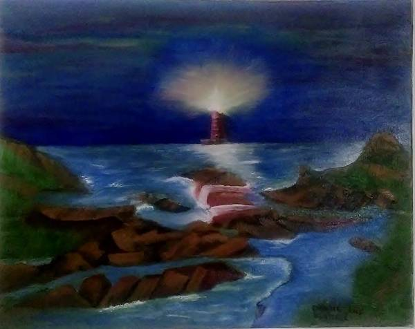 Lighthouse Poster featuring the painting Lighthouse At Night by Denise Fletcher
