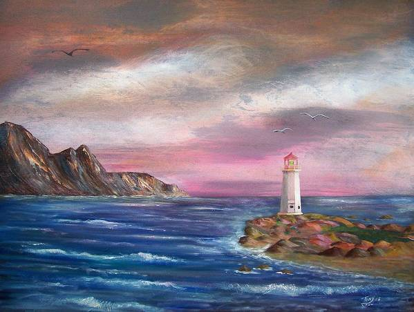 Seascape Poster featuring the painting Lighthouse At Sunset by Tony Rodriguez