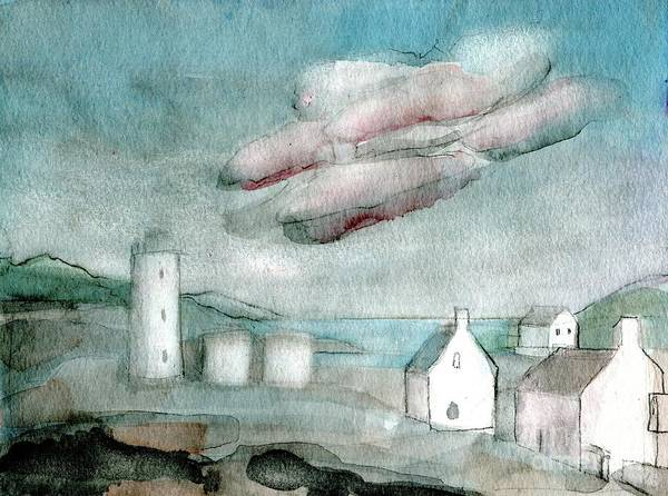 Lighthouse Harbour 1 - Original Fine Art - Watercolour Painting - Lighthouse Painting - Elizabethafox Poster featuring the painting Lighthouse Harbour 1 by Elizabetha Fox
