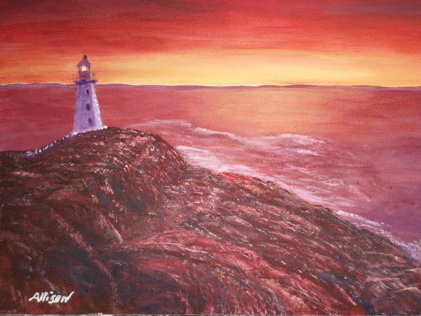 Lighthouse Paintings Poster featuring the painting Lighthouse In Newfoundland by Allison Prior