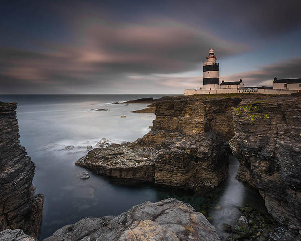 Landscape Poster featuring the photograph Lighthouse On Cliffs by Grzegorz Wanowicz