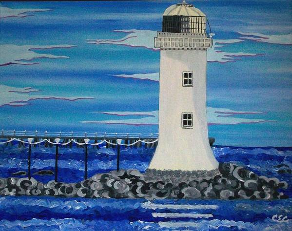 Lighthouse Poster featuring the painting Lighthouse On The Shannon by Carolyn Cable