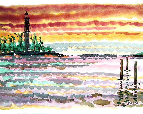 Sunrise Poster featuring the painting Lighthouse Point Sunrise by Ralph Papa