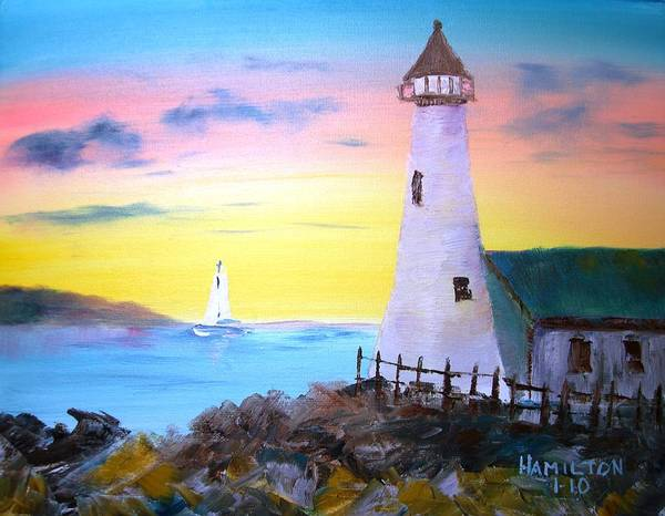 Oil Poster featuring the painting Lighthouse Study by Larry Hamilton