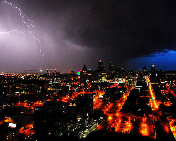 Night Poster featuring the photograph Lighting Over Kansas City by Steven Crown