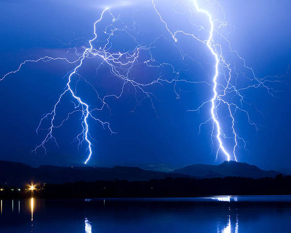 Lightning Poster featuring the photograph Lightning Storm 08.05.09 by James BO Insogna