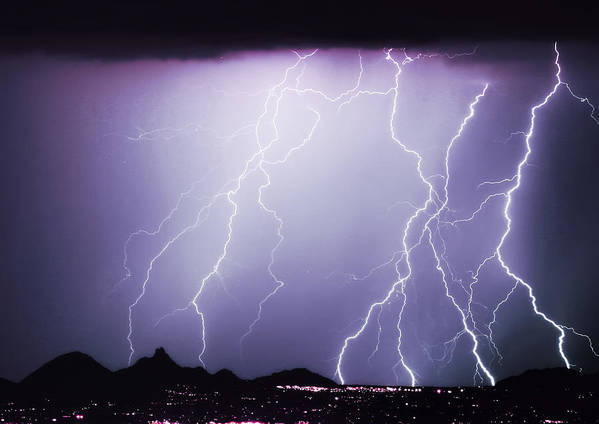 Insogna Poster featuring the photograph Lightning Storm North Scottsdale Az 85255 by James BO Insogna
