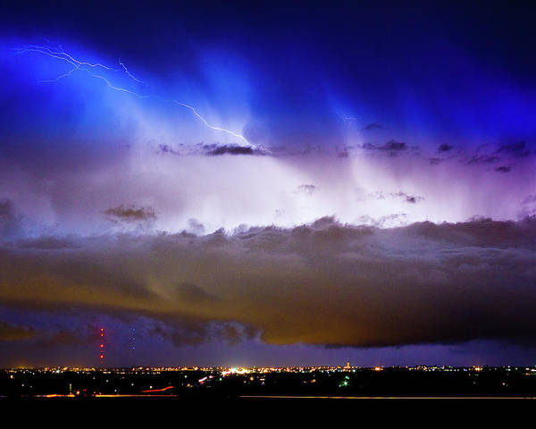 bo Insogna Poster featuring the photograph Lightning Thunder Head Cloud Burst Boulder County Colorado Im39 by James BO Insogna