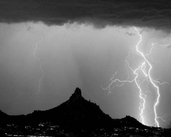 Pinnacle Peak Poster featuring the photograph Lightning Thunderstorm At Pinnacle Peak Bw by James BO Insogna