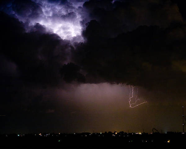 Colorado Lightning Storm Poster featuring the photograph Lightning Thunderstorm Cell 08-15-10 by James BO Insogna