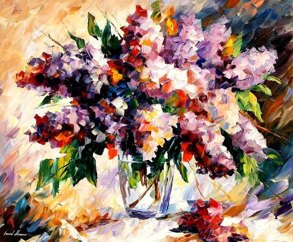 Afremov Poster featuring the painting Lilac - Morning Mood by Leonid Afremov