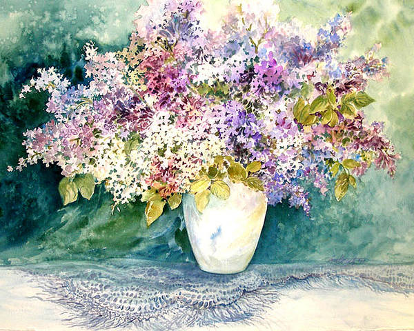 Lilacs;purple Lilacs;vase;floral Watercolor; Poster featuring the painting Lilacs And Lace by Lois Mountz