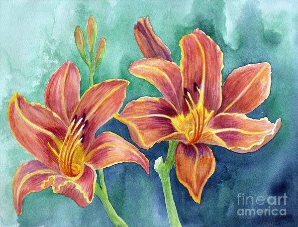 Watercolors Poster featuring the painting Lilies by Eleonora Perlic
