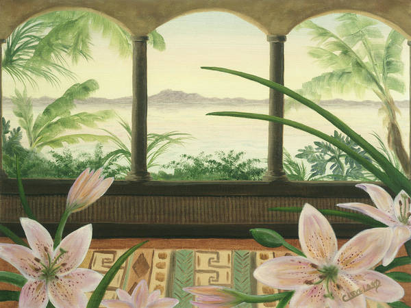 Flowers Poster featuring the painting Lilies In Paradise by Cathy Cleveland