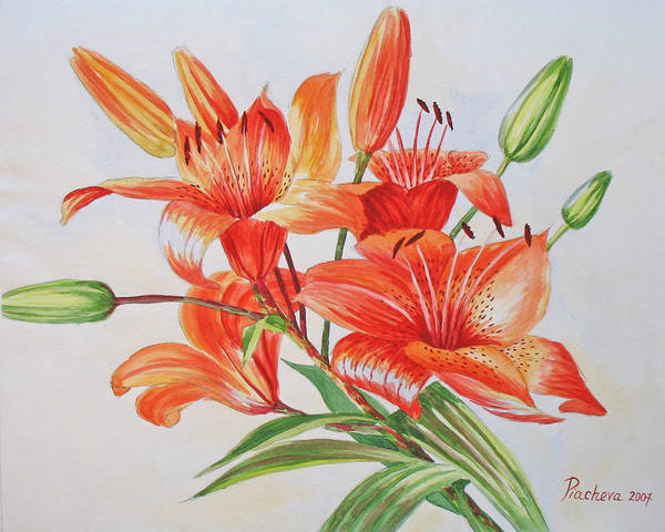 Floral Poster featuring the painting Lilies.2007 by Natalia Piacheva