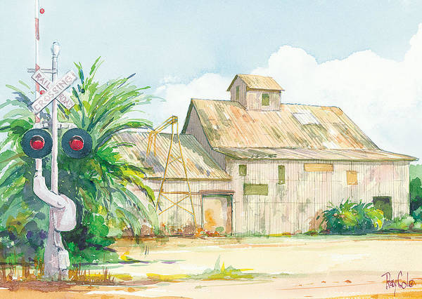 Historic Structure Near Train Crossing Poster featuring the painting Lima Bean Plant 2 by Ray Cole