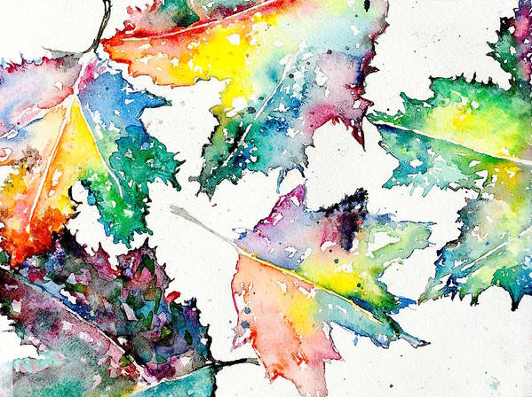 Watercolor Poster featuring the painting Maple Leaves by Julia S Powell