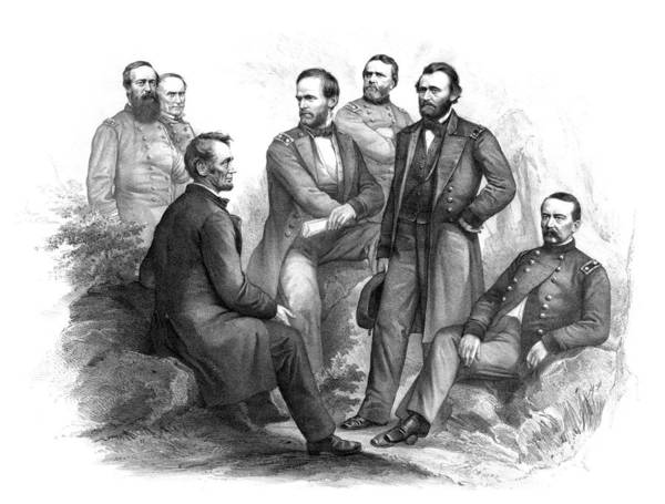 Civil War Poster featuring the drawing Lincoln And His Generals Black And White by War Is Hell Store