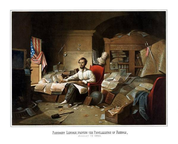 Abraham Lincoln Poster featuring the painting Lincoln Writing The Emancipation Proclamation by War Is Hell Store