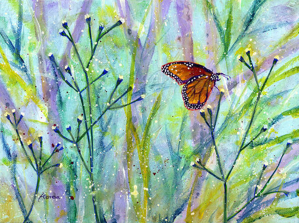 Butterfly Poster featuring the painting Lingering Memory 1 by Hailey E Herrera