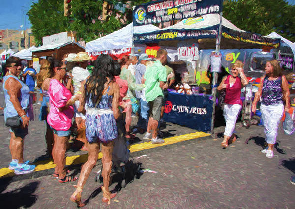Pecan Street Festival Poster featuring the photograph Lining Up For Cajun Food by JG Thompson