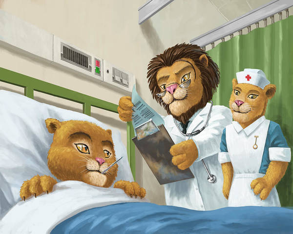 Bed Poster featuring the painting Lion Cub In Hospital by Martin Davey