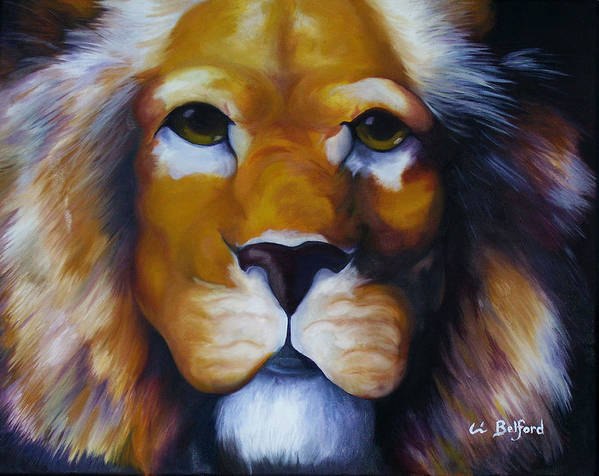 Lion Poster featuring the painting Lion by Eric Belford