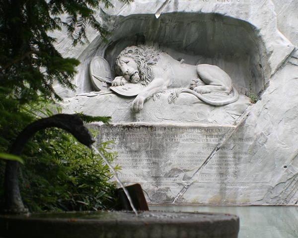 Switzerland Poster featuring the photograph Lion Monument Lucerne Switzerland by Greg Sharpe