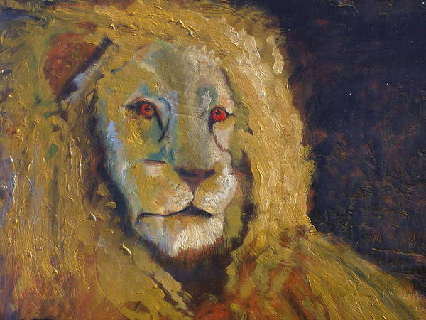 Lion Poster featuring the painting Lion two by J Bauer