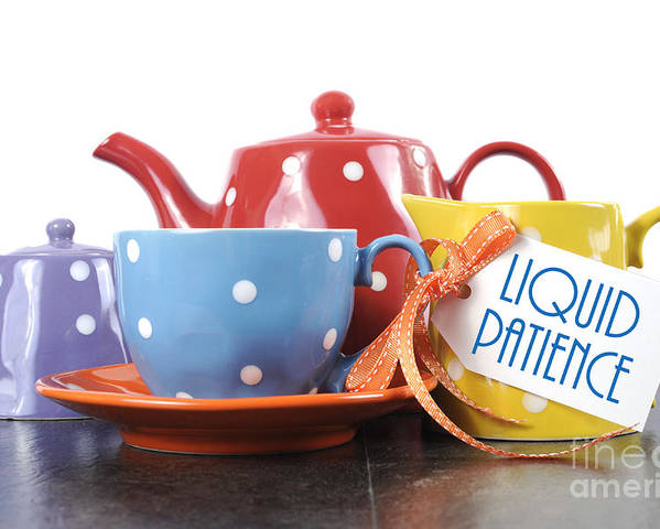 Table Poster featuring the photograph Liquid Patience Colorful Tea Set. by Milleflore Images