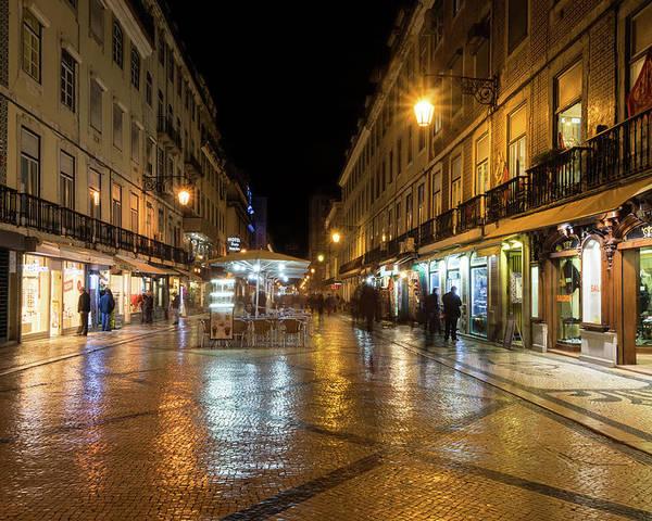 Georgia Mizuleva Poster featuring the photograph Lisbon Portugal Night Magic - Nighttime Shopping In Baixa Pombalina by Georgia Mizuleva