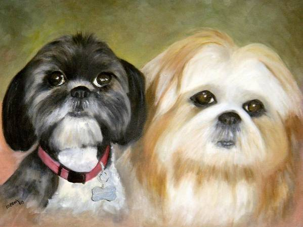 Pets Poster featuring the painting Little Angels by Merle Blair