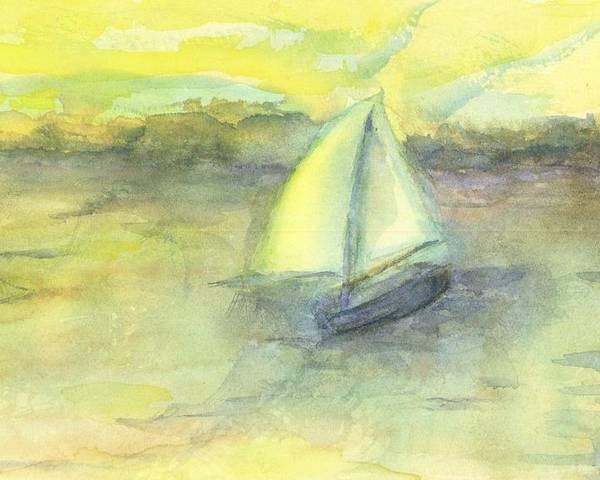 Boat Water Sea Sailboat Hillaryart Poster featuring the painting Little Boat by Hillary McAllister