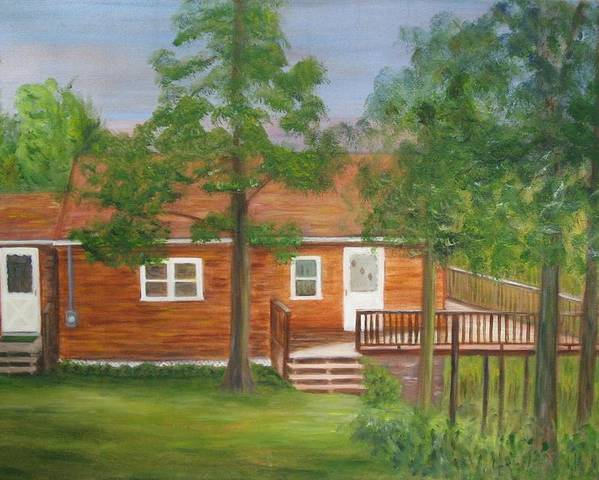Landscape Poster featuring the painting Little Cabin In The Big Woods by Patricia Ortman
