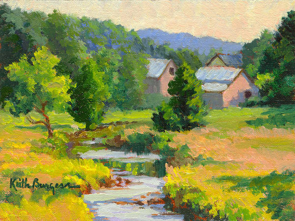 Landscape Poster featuring the painting Little Creek Farm by Keith Burgess