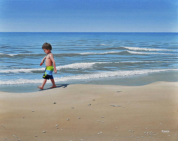 Beach Poster featuring the painting Little Explorer by Kenneth M Kirsch